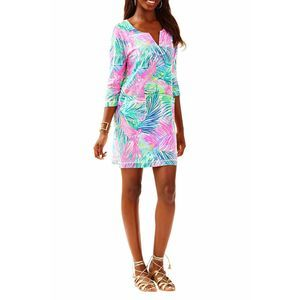 Lilly Pulitzer Lovely Mini Dress Palms Pink Blue S